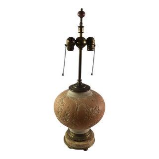 Satin Glass Peach & White Bird Motif Table Lamp