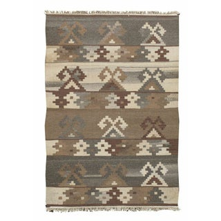 "Gray, Brown & Cream Kilim Rug - 3'7"" x 5'4"""
