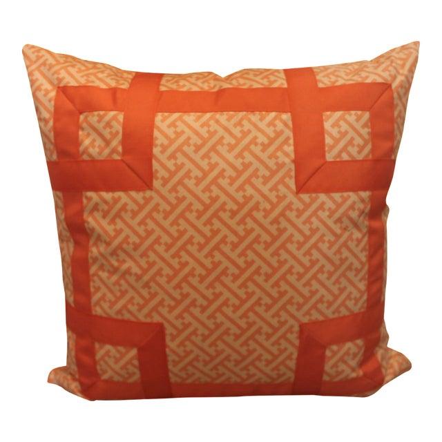 Orange Greek Key Pillow - Image 1 of 6