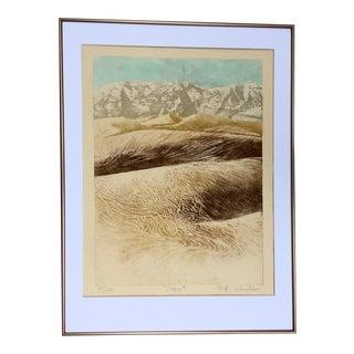 Vintage Desert Landscape Aquatint Etching