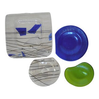 Pop Art Handmade Catchall Glass Bowl and Trays - Set of 4