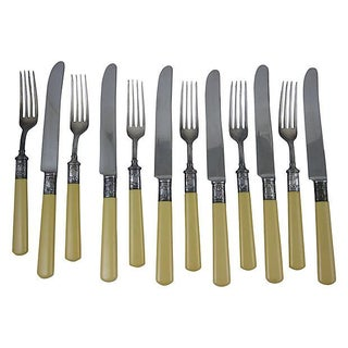 Sterling Silver & Celluloid Cutlery - Set of 12