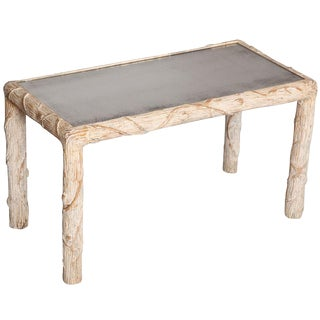 """Italian Carved Wood """"Faux Bois"""" Tea Table with Mirrored Top"""