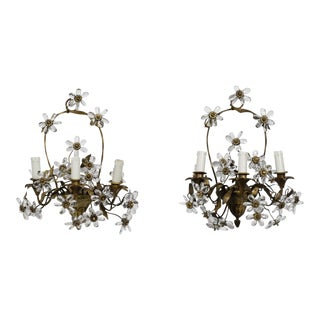 Pair French Bronze Basket Form Sconces with Crystal Flowers