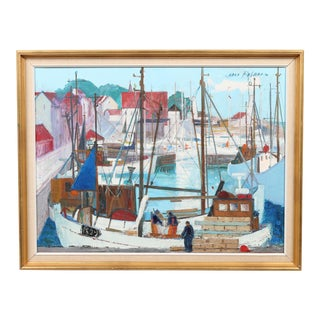 Carlo Rosberg Allinge Harbor Oil Painting