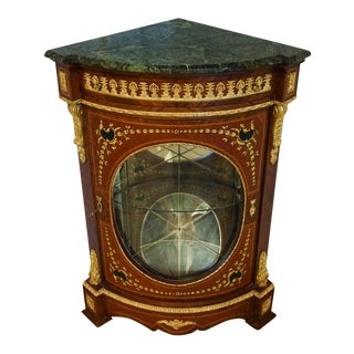 French Louis XV Style Marbletop Corner Cabinet