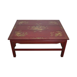 Hand Painted Red Chinoiserie Oriental Coffee Table