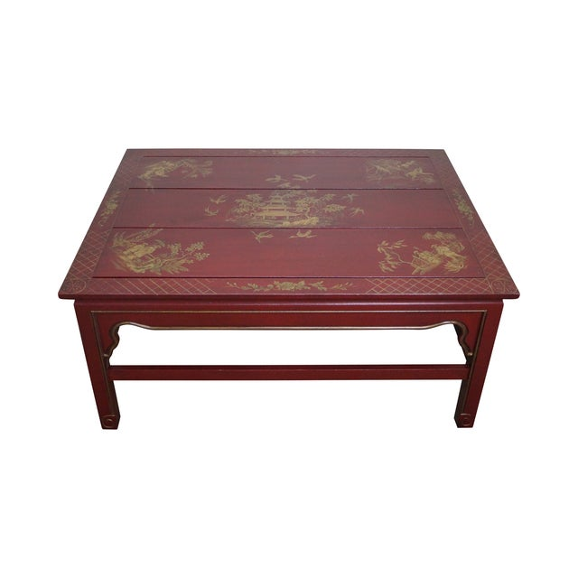 Hand Painted Red Chinoiserie Oriental Coffee Table Chairish