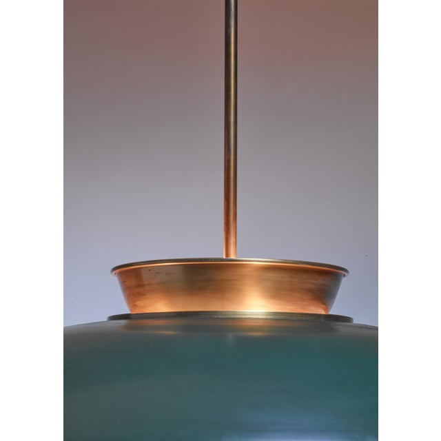 Large Swedish brass pendant lamp by Harald Notini, 1930s - Image 6 of 6
