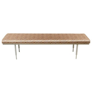 Newly Upholstered Mid-Century Spun Brushed Aluminum Benches