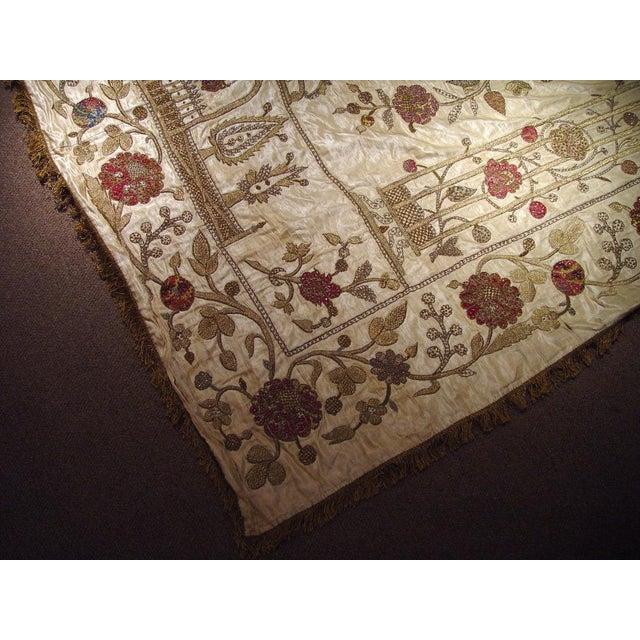 Large Ottoman Large Silkwork Textile Botanical Embroidery Hanging - Image 7 of 9