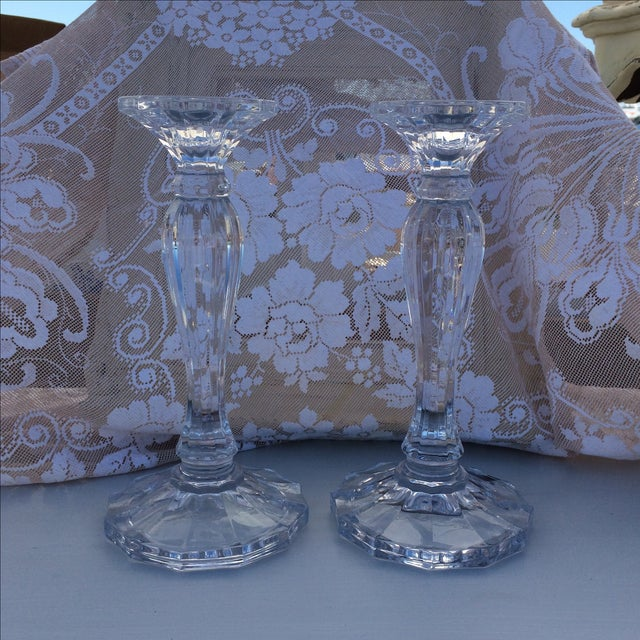 Crystal Candle Sticks - Pair - Image 2 of 4