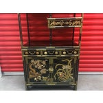 Image of Asian Black Lacquer Cabinet With Shelves