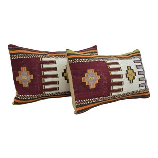 Vintage Turkish Kilim Rug Pillow Covers- A Pair