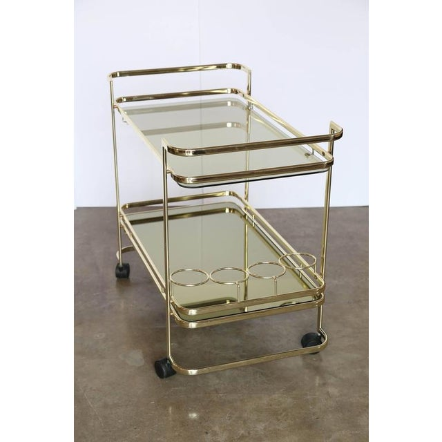 Gold Metal, Glass and Mirror Two-Tier Bar, Tea Cart or Serving Cart - Image 3 of 8