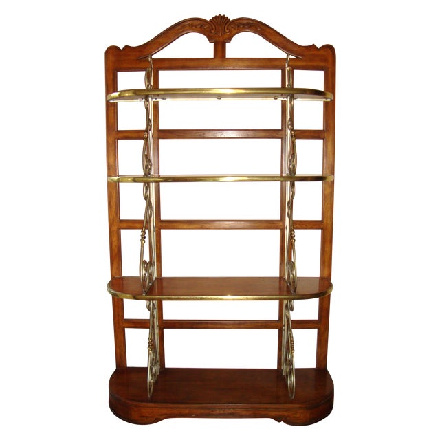 Image of Vintage Brass Pecan Drexel Shelf