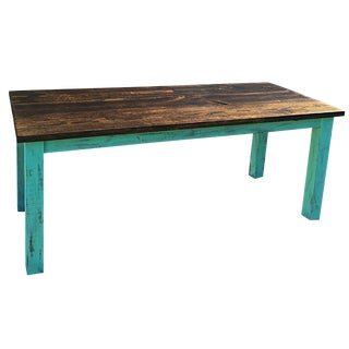 Farmhouse Table with Green Legs
