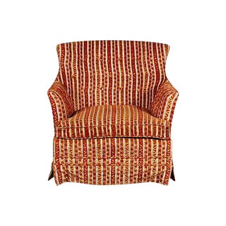 1950s Striped Fabric Lounge Chair