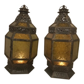 Authentic Moroccan Tin Lanterns - a Pair