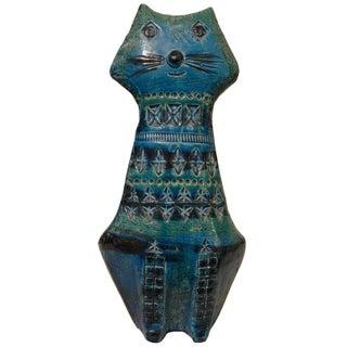 Bitossi Handmade Seated Blue Cat
