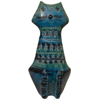 Bitossi Handmade Seated Blue Cat