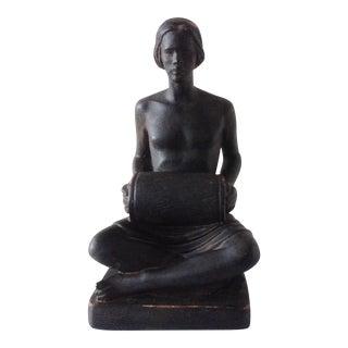 Black Terra Cotta Seated Male Blackamoor Figure
