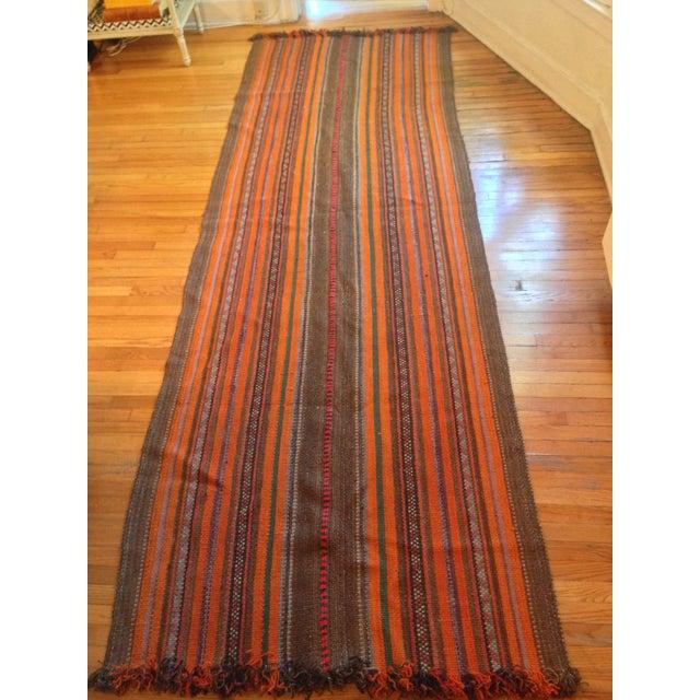 """Yemeni Tribal Wool Flat Weave Rug - 3'5"""" x 10'1"""" - Image 3 of 4"""