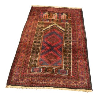Vintage Persian Baluchi Small Area Rug- 2′10″ × 4′4″