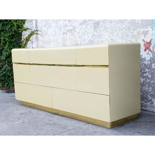 Vintage Lane Brass & Ivory Credenza - Image 4 of 5