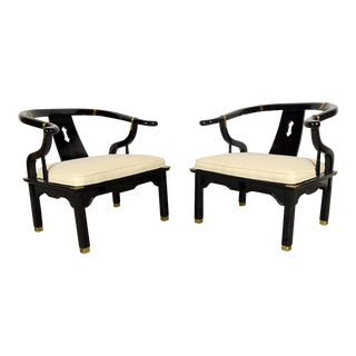 Modern Style Horse Shoe Armchairs - a Pair