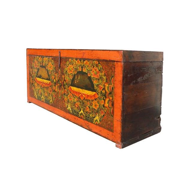 Antique Tibetan Elm Wood Graphic Storage Trunk - Image 2 of 7