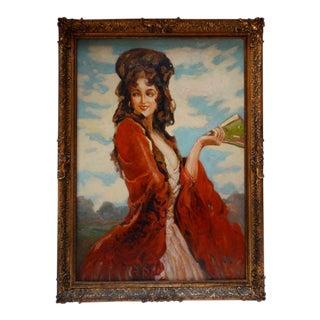 Framed Spanish Dancer Oil Painting