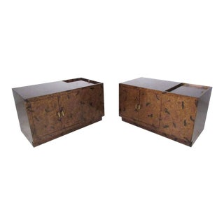 Pair of Exquisite Tortoise Shell End Tables by Directional