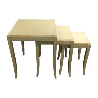 Wooden Nesting Tables with Metallic Finish - 3