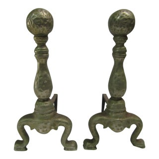 Cast Iron Shaped & Hammered Andirons - A Pair