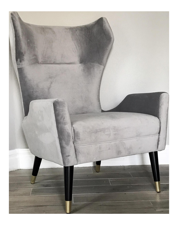 grey velvet italian modern style wingback chair chairish grey velvet italian modern style wingback chair chairish