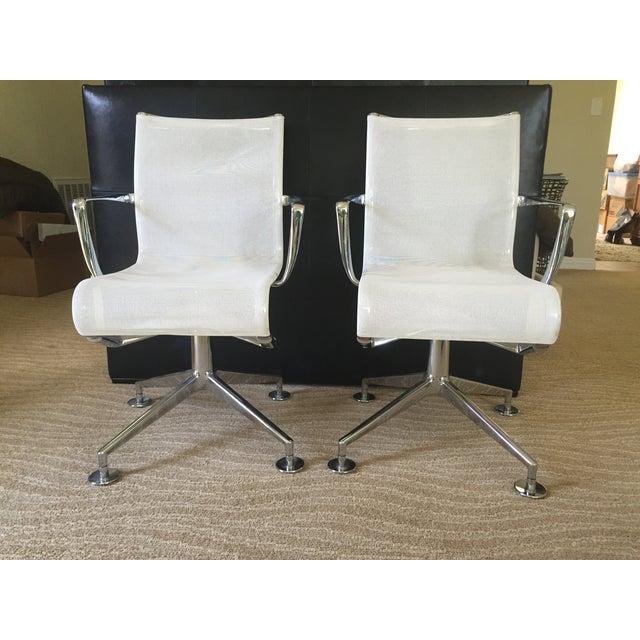 Alias White Mesh Chrome Swivel Armchairs - Pair - Image 2 of 5
