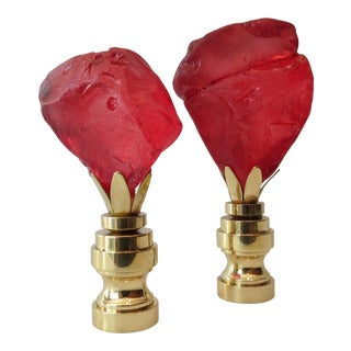 Ruby Frosted Sea Glass Finials - A Pair