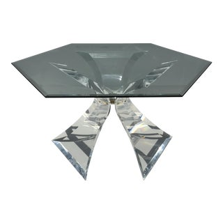 Lion in Frost Lucite Tripod Base Dining Table
