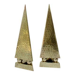 Hammered Brass Obelisks, a Pair