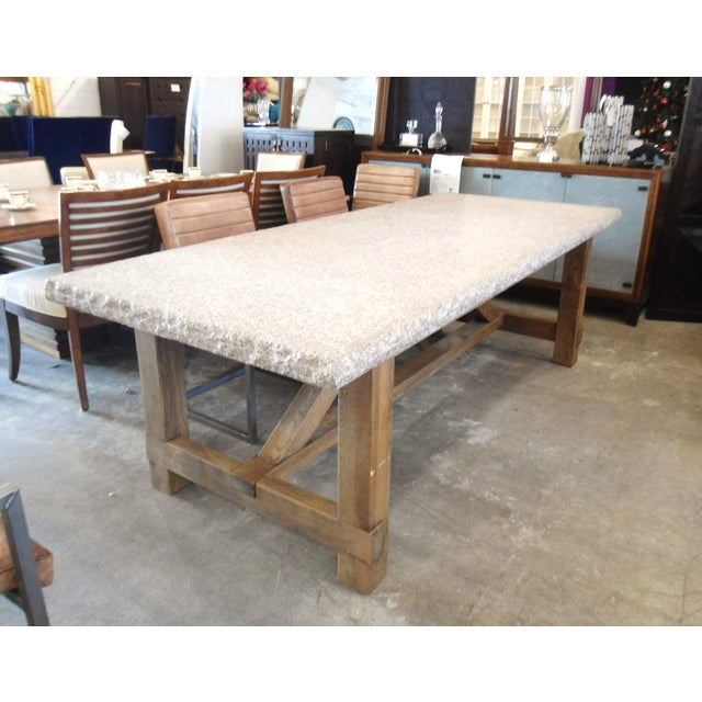 Granite top dining table with raw wood base chairish for Granite top dining table
