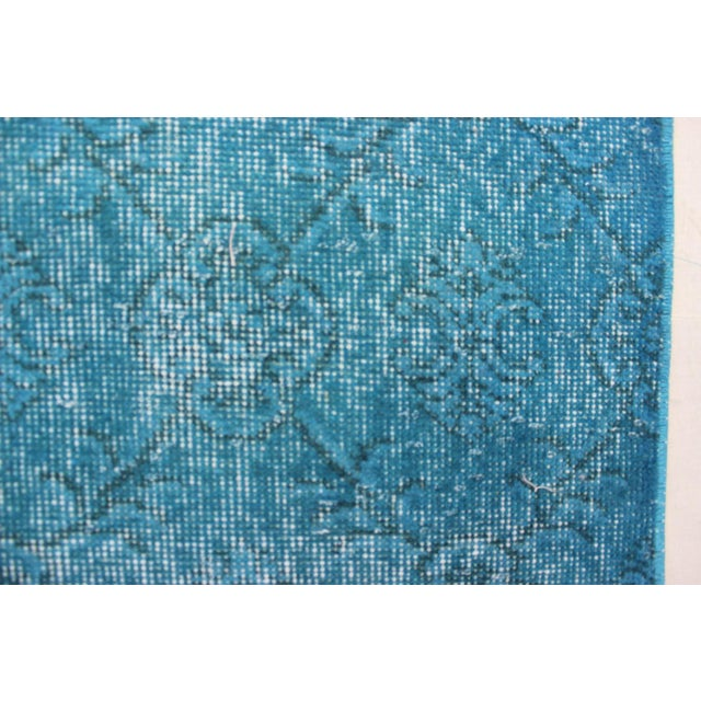 "Turquoise Turkish Over-Dyed Rug - 6'7"" X 10'10"" - Image 6 of 8"