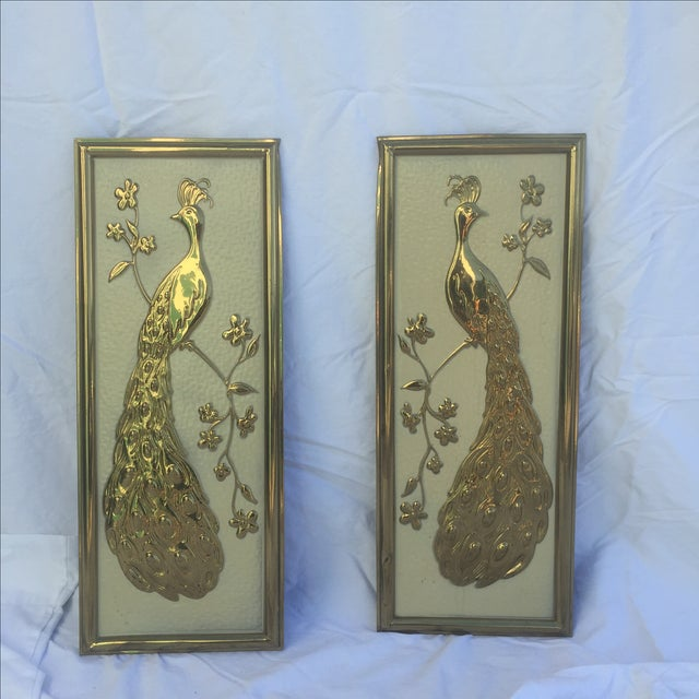 Image of Vintage Brass Peacock Wall Hanging - Left Facing