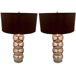George Kovacs Chrome Stacked Lamps - A Pair