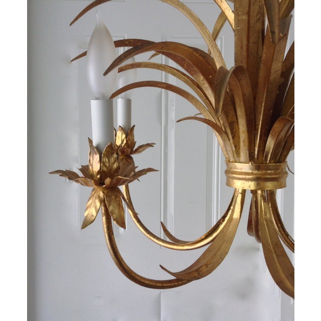 Hollywood Regency Gilt Tole Chandelier - Image 3 of 7