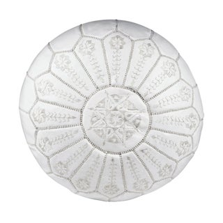 Embroidered Leather Pouf - White on White Starbrst