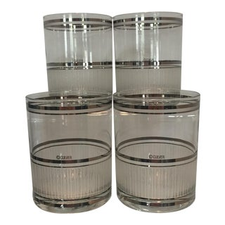Vintage Culver White Frosted and Platinum Stripe Glasses - Set of 4