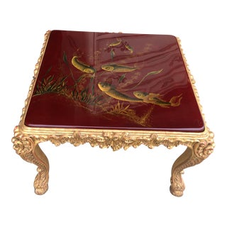 Red Lacquer Table with Koi Fish Motif and Carved legs