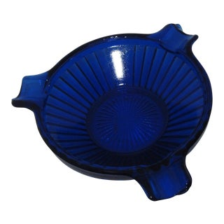 Art Deco Cobalt Blue Ribbed Round Glass Ashtray
