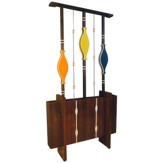Mid Century Modern Art Screen Room Divider Plant